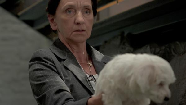 Frau Rottbach (Angelika Böttiger) entdeckt den Malteserwelpen. | Rechte: MDR/Anke Neugebauer