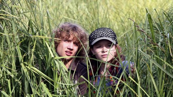 Ronja (Miriam Katzer) und Justus (Robert Reichert) beobachten, ob ihr Plan gelingt: Familie Berger soll einen perfekten Nachmittag am See verbringen, um alte Gefühle zwischen ihnen Herr und Frau Berger neu zu entfachen. | Rechte: MDR/Anke Neugebauer