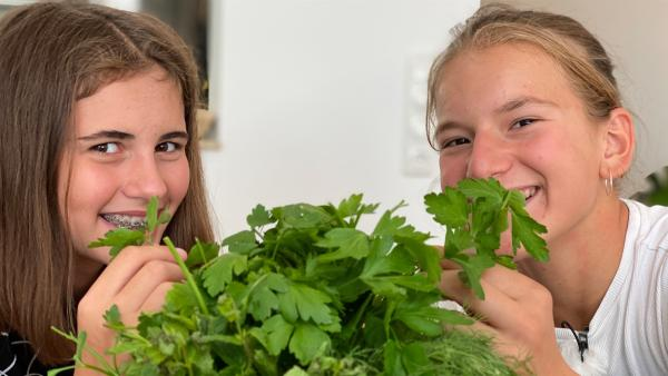 Für selbstgemachtes Yufka-Börek brauchen Mia (12) und Mina (13) frische Petersilie. | Rechte: SWR/Marike Hoppe