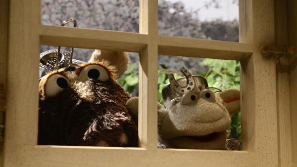 Pferd und Wolle versuchen herauszubekommen, was Finchen und Günni im Schilde führen... | Rechte: NDR/Uwe Ernst