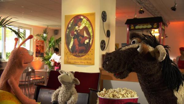 Finchen (li.) lädt Wolle und Pferd zu einem Kinobesuch ein. | Rechte: NDR