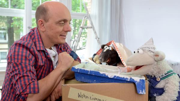 Wolle und Pferd besuchen den Komiker Bernhard Hoecker, bei dem gerade renoviert wird, um mit ihm übers Auslachen zu sprechen. | Rechte: NDR/Uwe Ernst