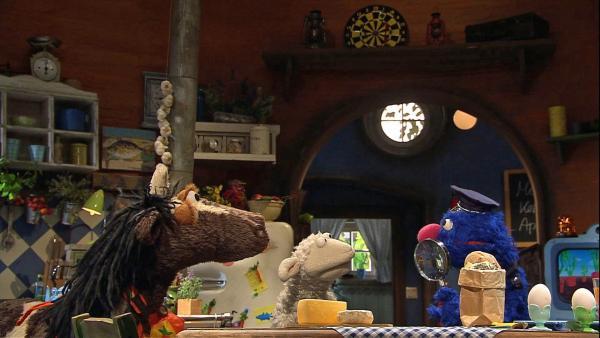 Wolle ruft die Polizei und Inspektor Grobi nimmt die Ermittlungen auf. Ob Pferds Lüge jetzt auffliegt? | Rechte: NDR/Sesame Workshop