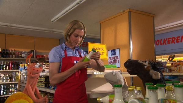 Finchen, Wolle und Pferd fahren in den Supermarkt, um sich zu beschweren und treffen auf Julia. Die weiß, was noch so alles in fertigen Lebensmitteln enthalten sein kann. | Rechte: NDR/Sesame Workshop
