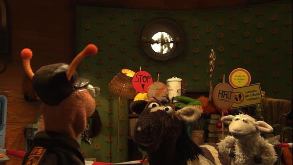 Finchen hat vergessen, das Märchenbuch wieder zurück zu geben. Wolle und Pferd regen sich furchtbar darüber auf. | Rechte: NDR/Sesame Workshop