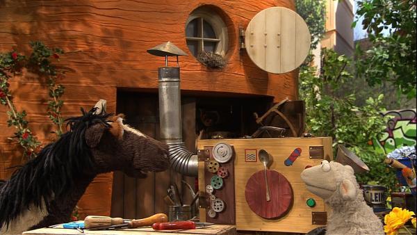 Wie sollen Pferd und Wolle ihr Entscheidungsproblem lösen? Wolle hat da schon eine seiner ganz besonderen Ideen... | Rechte: NDR/Sesame Workshop