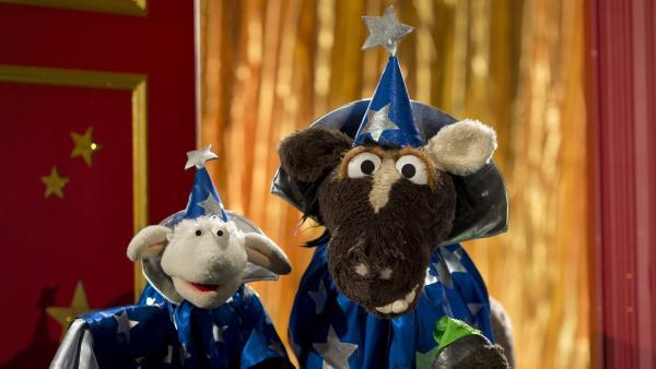 Wolle und Pferd beschließen, in eine Zauberschule zu gehen und das Zaubern zu lernen. | Rechte: NDR/Sesame Workshop/Thorsten Jander