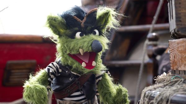 Wolf gefällt das wilde Piratenleben.   Rechte: NDR/Sesame Workshop/Thorsten Jander