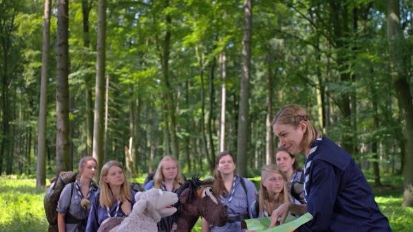 Wolle und Pferd haben sich verlaufen. Zum Glück treffen sie auf eine Gruppe Pfadfinder. | Rechte: NDR/Sesame Workshop