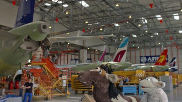 Pferd und Wolle holen sich Hilfe in einer Flugzeugfabrik. | Rechte: NDR/Sesame Workshop