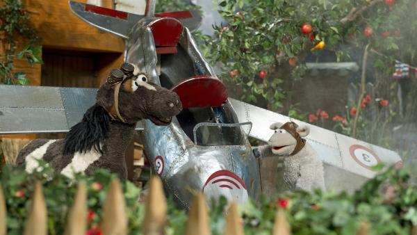 Mit einem Flugzeug würden Wolle und Pferd bestimmt rechtzeitig zu Tante Hüfli kommen. Doch Wolles Versuch, ein richtiges Flugzeug zu bauen, geht schief. | Rechte: NDR/Sesame Workshop