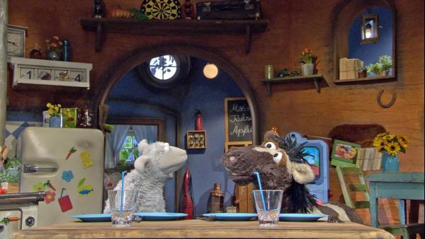 Pferd beschließt, alles genau so zu machen wie Wolle.   Rechte: NDR/Sesame Workshop