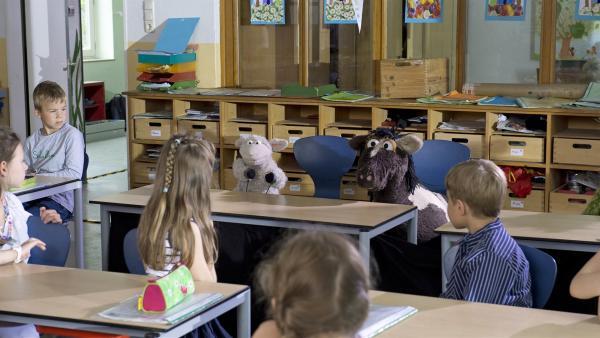 Die Kinder in Rikes Klasse sind neugierig auf ihre neuen Mitschüler Wolle und Pferd. | Rechte: NDR/Sesame Workshop