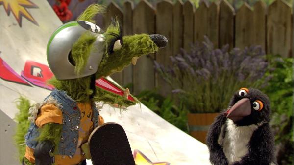 Auch der Wolf versteht den Pinguin nicht. | Rechte: NDR/Sesame Workshop