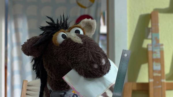 In einem Buchladen suchen Pferd und Wolle nach einer guten Idee, wie sie das Buch vom Wolf reparieren können. | Rechte: NDR/Sesame Workshop