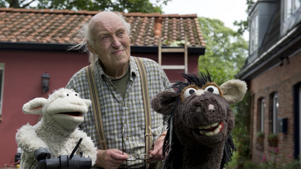 Wolle und Pferd besuchen ihren Nachbarn Herr Wöllke. | Rechte: NDR/Sesame Workshop