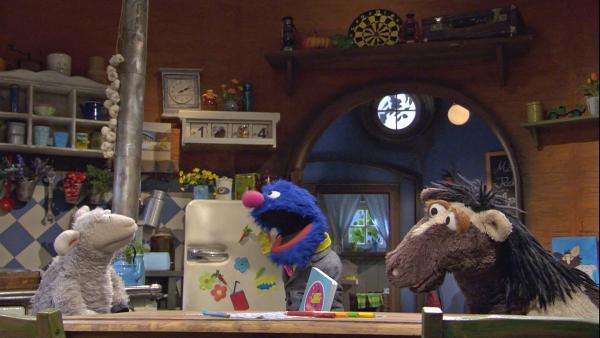 Grobi möchte Wolle und Pferd neue Möbel verkaufen. | Rechte: NDR/Sesame Workshop