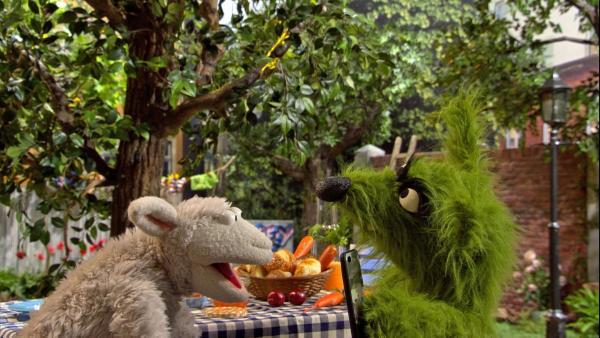 Wolf schenkt Wolle sein altes Handy, weil er jetzt ein neues hat.   Rechte: NDR/Sesame workshop