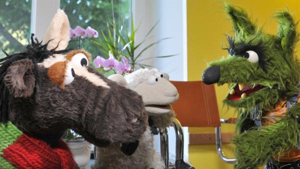 Pferd und Wolle sind krank. Im Wartezimmer macht der Wolf ihnen Angst. | Rechte: NDR/Uwe Ernst