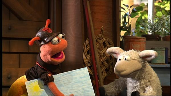 Verflixt! Kaum hat Finchen ein von ihr gemaltes Bild bei Wolle und Pferd abgestellt, da schmiert Pferd unabsichtlich einen dicken Marmeladenfleck darauf. Was jetzt? | Rechte: NDR/Studio Hamburg