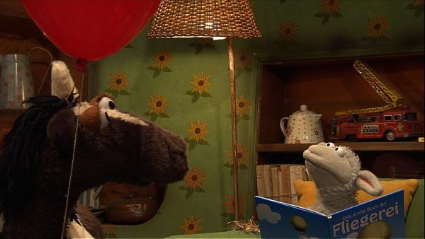 Wolle träumt vom Fliegen. Pferd will lieber auf dem Boden bleiben und mit seinem Luftballon spielen. | Rechte: NDR/Studio Hamburg