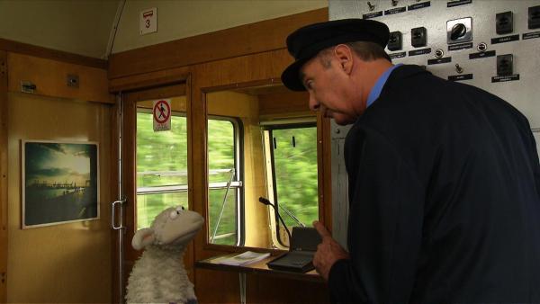 Zugfahren ist total schwierig, denkt Pferd. Aber Wolle überredet ihn zu einer Reise ans Meer. | Rechte: NDR/Studio Hamburg