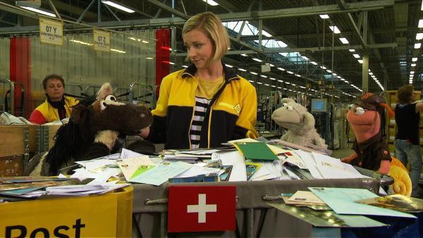 Wolle und Pferd fahren zur Post um ein Paket abzufangen, dass Pferd seiner Tante Hüfli geschickt hat. | Rechte: NDR