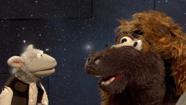 Wolle und Pferd sind für den Film verkleidet | Rechte: NDR/Sesame Workshop Foto: Screenshot