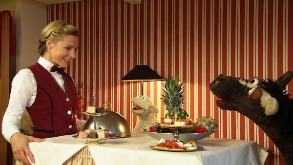 Wolle und Pferd essen im Hotel | Rechte: NDR Foto: Screenshot