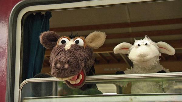 Wolle und Pferd schauen aus einem Zugabteilfenster | Rechte: NDR / Uwe Ernst