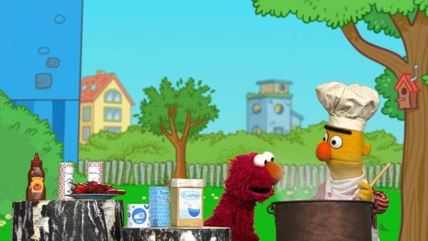 Elmo würzt Berts Suppe und Abby besingt den leckeren Brokkoli. | Rechte: NDR