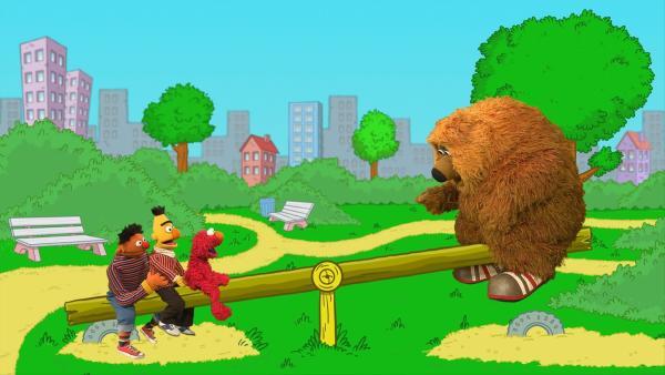Elmo, Ernie, Bert und Samson wippen. | Rechte: NDR