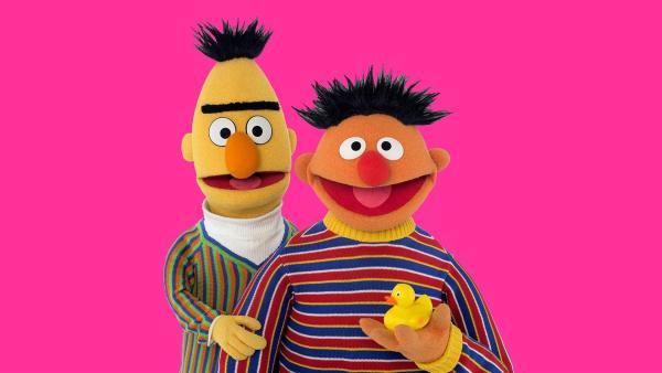 Bert (li.) möchte schlafen, da weckt Ernie (re.) ihn. | Rechte: NDR/Thorsten Jander