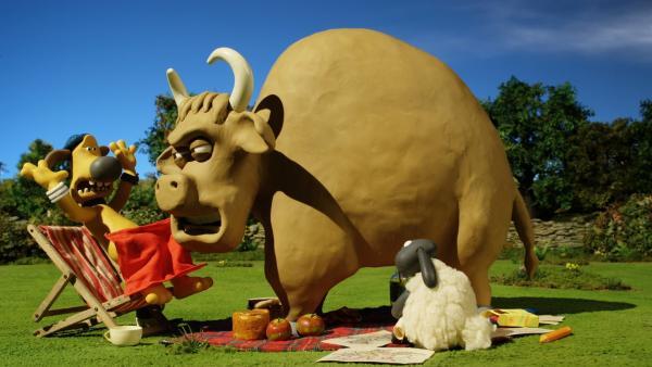 Den Stier hatte Bitzer eigentlich nicht zum Picknick eingeladen. | Rechte: WDR/Aardman Animation Ltd./BBC