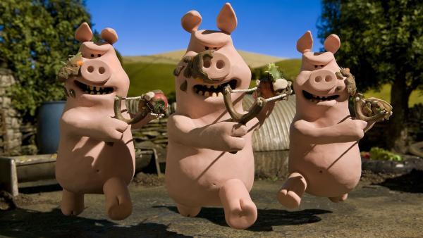 Attacke! Die Schweine sind wieder gar nicht gut auf Shaun zu sprechen. | Rechte: WDR/Aardman Animation Ltd./BBC