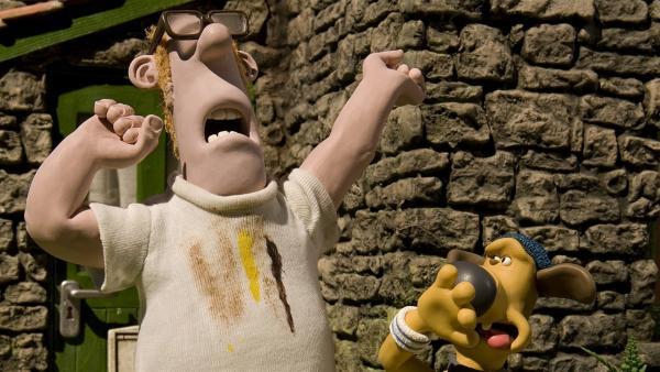 Bitzer hält die Luft an: Der Bauer muss sich dringend waschen! | Rechte: WDR/Aardman Animation Ltd./BBC