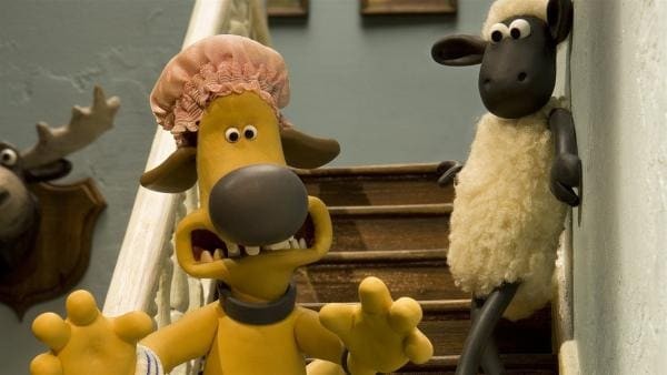 Wachhund auf der Flucht: Shaun erkennt seinen Freund Bitzer kaum wieder. | Rechte: WDR/Aardman Animation Ltd./BBC