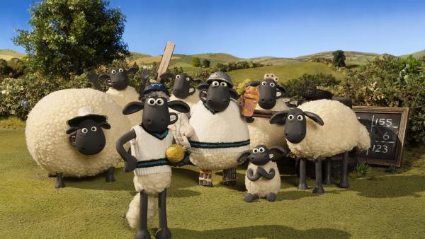 Shaun und seine Freunde freuen sich auf eine Runde Cricket. | Rechte: WDR/Aardman Animations Ltd.