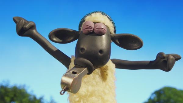 Shaun lässt alle Schafe nach seiner Trillerpfeife tanzen.  | Rechte: © KiKA