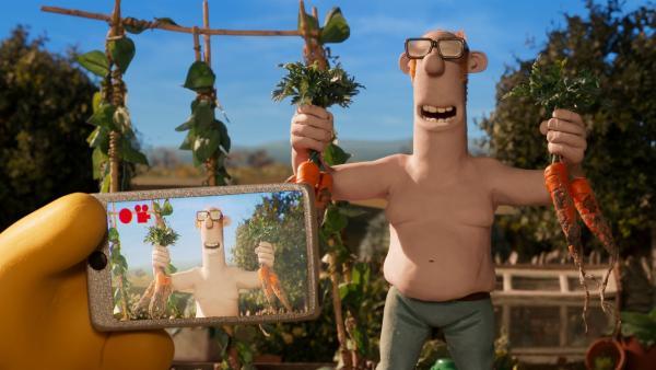 Der Farmer will auch ein Internet-Star werden wie sein smarter Nachbar Ben. Ob das funktioniert? | Rechte: WDR/BBC/Animation Ltd.