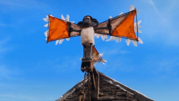 Shaun will der kleinen Gans das Fliegen beibringen - auf seine eigene Art. | Rechte: WDR/BBC/Animation Ltd.