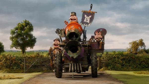 Die Schweine starten wieder einmal zum Angriff. Ob der Superheld helfen kann? | Rechte: WDR/BBC/Animation Ltd.