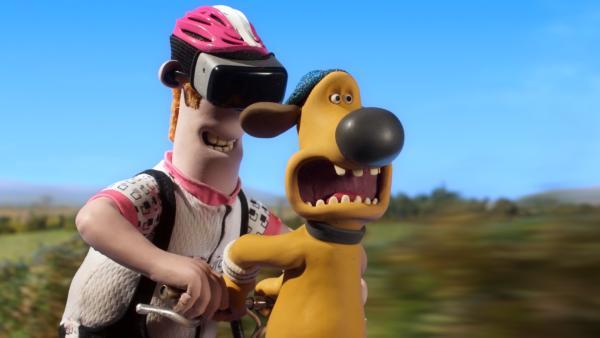 Der Farmer denkt, er fährt nur ein digitales Radrennen. Bitzer weiß es besser!   Rechte: WDR/BBC/Animation Ltd