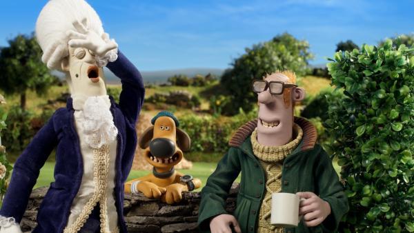 Auf dem Hof wird ein Kostümfilm gedreht. Bitzer und der Farmer haben ihren Spaß dabei.   Rechte: WDR/BBC/Animation Ltd