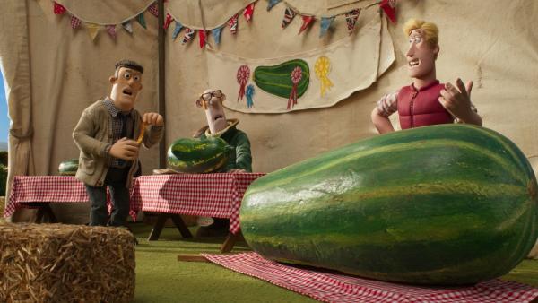 Wer hat die schönsten Zucchini? Der Farmer ärgert sich über Farmer Ben.   Rechte: WDR/BBC/Animation Ltd