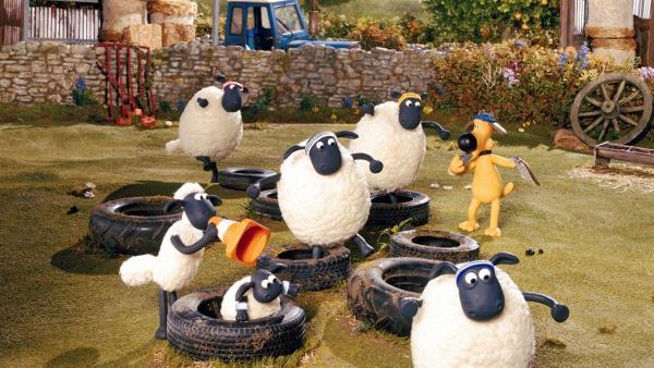 """Shaun ernennt sich zum """"Personal Trainer"""" und gibt alles, um aus dem großen, dicken Schaf ein schlankes, sportliches Normalschaf zu machen. Das gelingt ihm sogar, doch das Training zeigt nur kurzen Erfolg...   Rechte: WDR/Aardman Animations Ltd."""