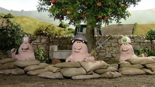 Schweinerei, die schönen Äpfel werden hartnäckig verteidigt. Wie werden die Schafe einige bekommen? | Rechte: WDR/Aardman Animation Ltd./BBC