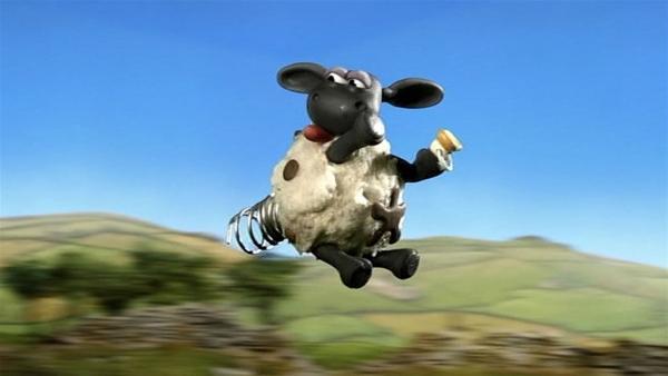 Eine Feder am Po, so macht Timmy große Sprünge. | Rechte: WDR/Aardman Animation Ltd./BBC