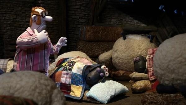 Wohin? Der Farmer hat sich ausgesperrt und sucht einen Schlafplatz im warmen Schafstall.   Rechte: WDR/Aardman Animation Ltd./BBC