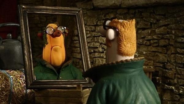 Das Spiegelbild des Farmers ist heute seltsam. Sah er wirklich schon immer so aus? | Rechte: WDR/Aardman Animation Ltd./BBC
